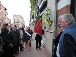 Hommage rendu le samedi 30 avril 2016 à l'initiative de l'Association Les Garibaldiens de Toulouse.