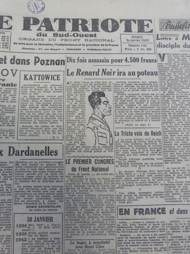 """Le """"Renard noir"""" condamné à mort par la Cour de justice de Toulouse en janvier 1945 Le Patriote du Sud-Ouest, Archives départementales de Huate-Garonne"""