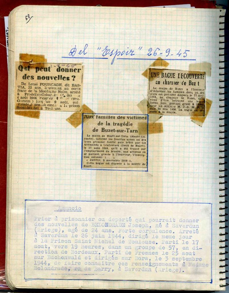 Cahier de Pilar Ponzan et conservé au Musée départemental de la Résistance