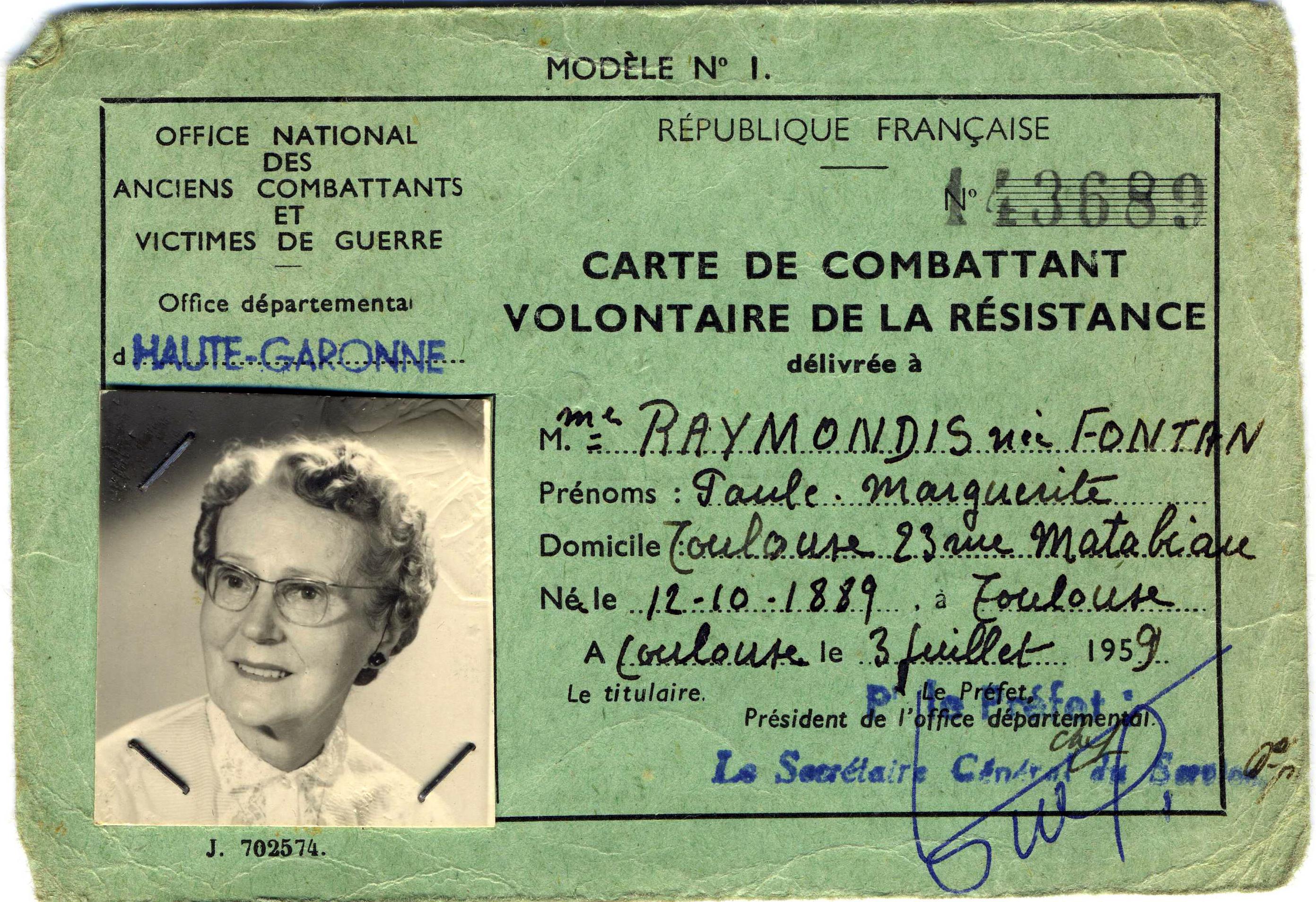 Raymondis Paule carte combattant volontaire resistance