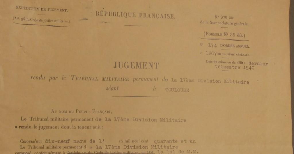 JUGEMENT TRIB MILITAIRE MARS 1941 detail (1)
