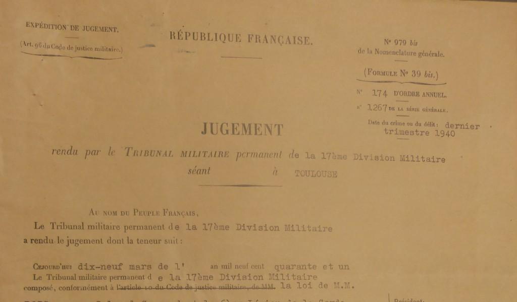 Jugement du Tribunal militaire19 mars 1941, Archives départementales de la Haute-Garonne